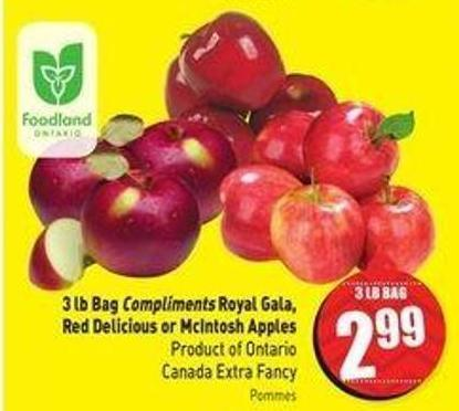 3 Lb Bag Compliments Royal Gala - Red Delicious or Mcintosh Apples Product of Ontario Canada Extra Fancy