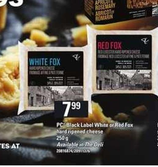 PC Black Label White Or Red Fox Hard Ripened Cheese - 250 G