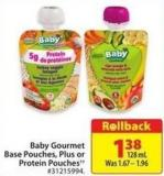 Baby Gourmet Base Pouches - Plus or Protein Pouches