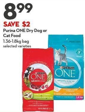 Purina One Dry Dog or  Cat Food 1.36-1.8kg Bag