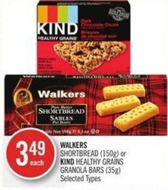 Walkers  Shortbread (150g) or Kind Healthy Grains Granola Bars (35g