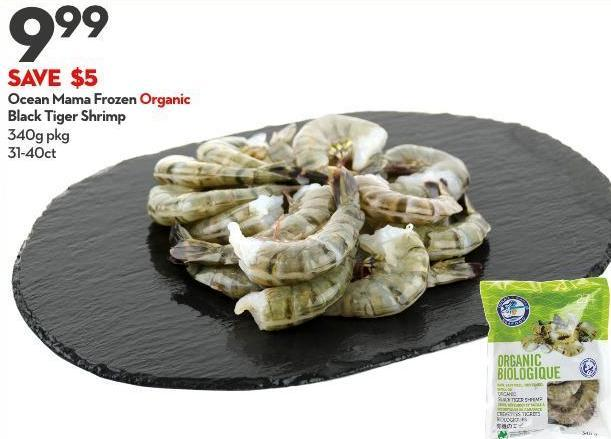 Ocean Mama Frozen Organic Black Tiger Shrimp 340g Pkg 31-40ct