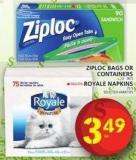 Ziploc Bags Or Containers Or Royale Napkins
