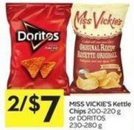 Miss Vickie's Kettle Chips 200-220 g or Doritos 230-280 g