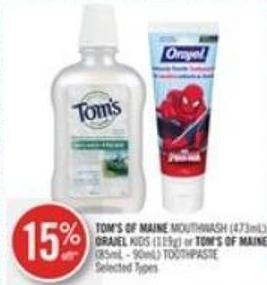 Tom's Of Maine Mouthwash (473ml) - Orajel Kids (119g) or Tom's Of Maine (85ml - 90ml) Toothpaste