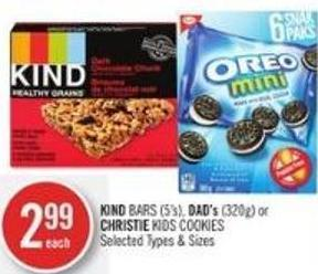 Kind Bars (5's) - Dad's (320g) or Christie Kids Cookies