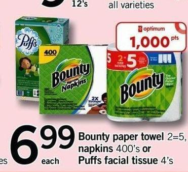Bounty Paper Towel 2=5 - Napkins 400's Or Puffs Facial Tissue 4's