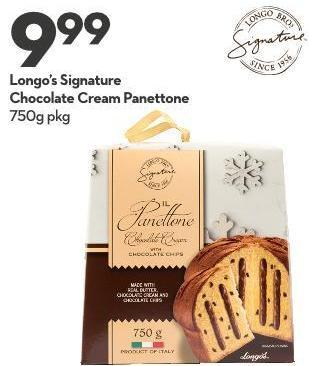 Longo's Signature Chocolate Cream Panettone 750g Pkg