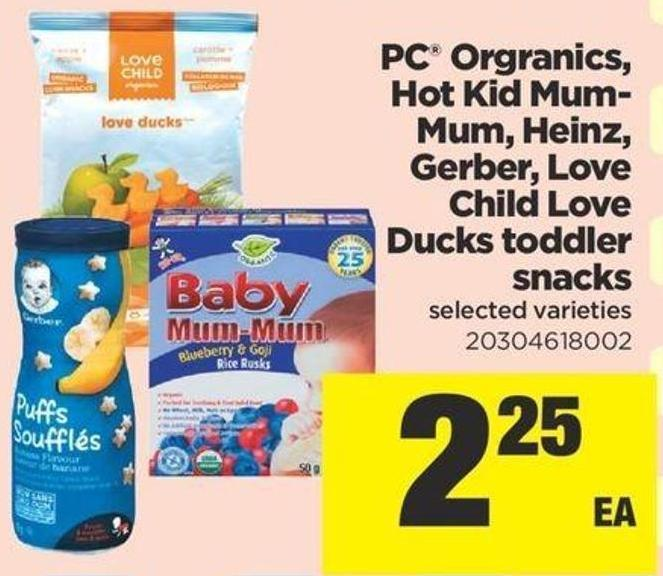 PC Orgranics - Hot Kid Mum- Mum - Heinz - Gerber - Love Child Love Ducks Toddler Snacks