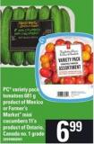 PC Variety Pack Tomatoes - 681 G Or Farmer's Market Mini Cucumbers - 11's