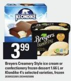 Breyers Creamery Style Ice Cream Or Confectionery Frozen Dessert - 1.66 L Or Klondike - 4's