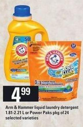 Arm & Hammer Liquid Laundry Detergent - 1.81-2.21 L Or Power Paks - Pkg Of 24