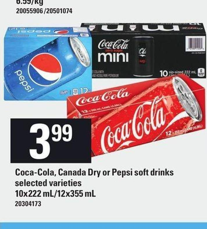 Coca-cola - Canada Dry Or Pepsi Soft Drinks - 10 X 222 Ml