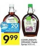 Compliments Organic Maple Syrup 500 mL - 20 Air Miles Bonus Miles