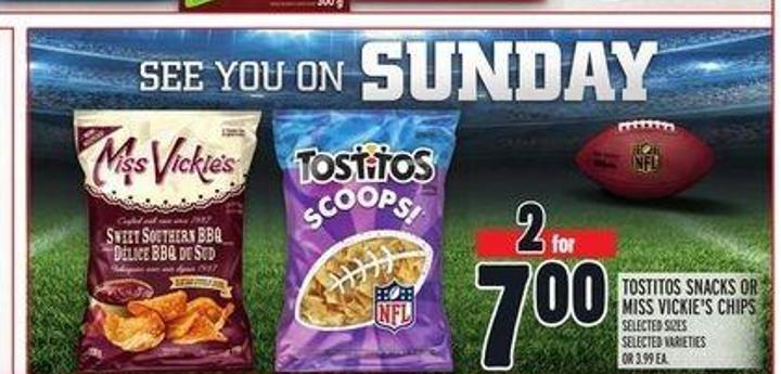 Tostitos Snacks Or Miss Vickie's Chips
