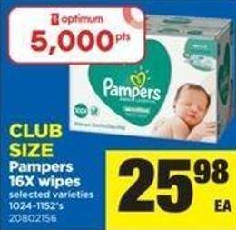 Pampers - 16x Wipes - 1024-1152's