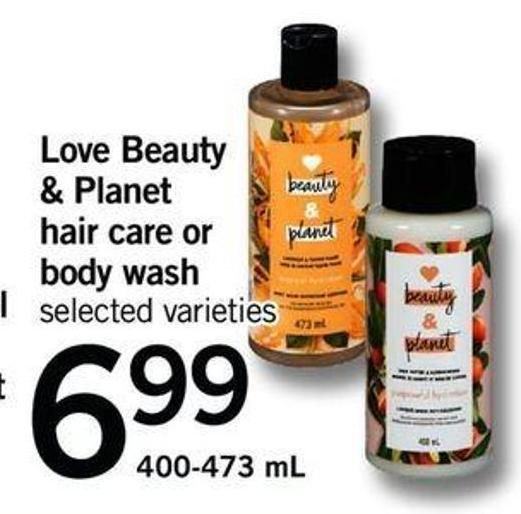 Love Beauty & Planet Hair Care Or Body Wash - 400-473 mL