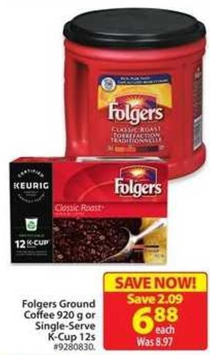 Folgers Ground Coffee 920 g or Single-serve K-cup 12s