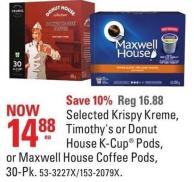 Selected Krispy Kreme - Timothy's or Donut House K-cup Pods or Maxwell House Coffee Pods - 30-pk