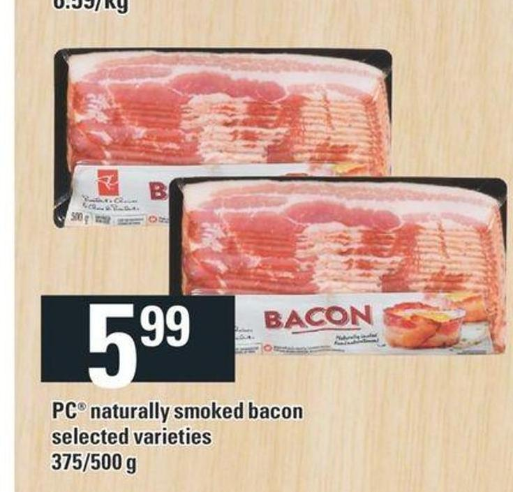 PC Naturally Smoked Bacon - 375/500 g