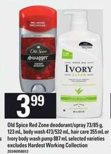 Old Spice Red Zone Deodorant/spray - 73/85 G - 123 Ml - Body Wash - 473/532 Ml - Hair Care - 355 Ml Or Ivory Body Wash Pump - 887 Ml