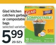 Glad Kitchen Catchers Garbage Or Compostable Bags - 20-52's