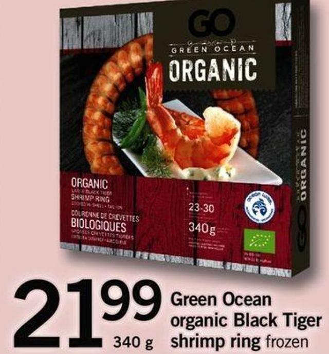 Green Ocean Organic Black Tiger Shrimp Ring - 340 G