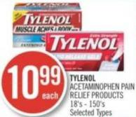 Tylenol Acetaminophen Pain Relief Products 18's - 150's