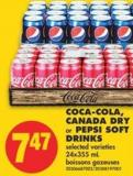 Coca-cola - Canada Dry or Pepsi Soft Drinks - 24x355 mL