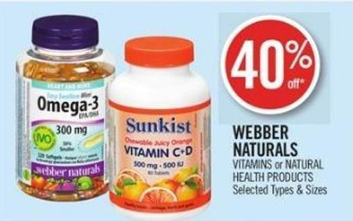 Webber Naturals Vitamins or Natural Health Products