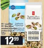 PC Roasted Or PC Blue Menu Unsalted Pistachios - 620 g
