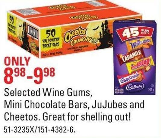 Selected Wine Gums - Mini Chocolate Bars - Jujubes and Cheetos