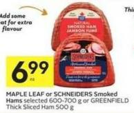 Maple Leaf or Schneiders Smoked Hams