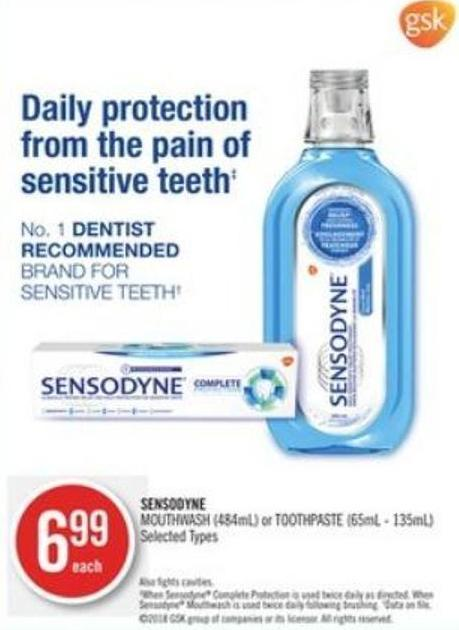 Sensodyne Mouthwash (484ml) or Toothpaste (65ml - 135ml)