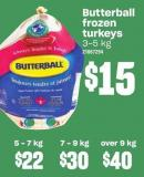 Butterball Frozen Turkeys - 9 Kg