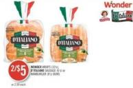 Wonder Wraps (10's) - D'italiano Sausage (6's) or Hamburger (8's) Buns