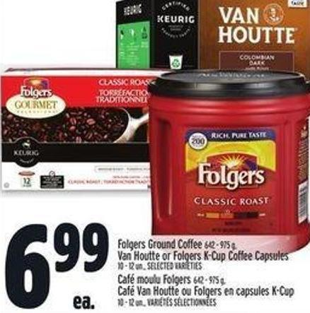 Folgers Ground Coffee 642 - 975 G - Van Houtte Or Folgers K-cup Coffee Capsules 10 - 12 Un