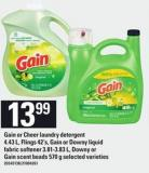 Gain Or Cheer Laundry Detergent - 4.43 L - Flings - 42's - Gain Or Downy Liquid Fabric Softener - 3.81-3.83 L - Downy Or Gain Scent Beads - 570 G
