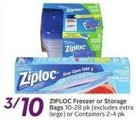 Ziploc Freezer or Storage Bags 10-28 Pk (Excludes Extralarge) or Containers 2-4 Pk