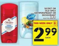 Secret Or Old Spice Antiperspirant Or Deodorant