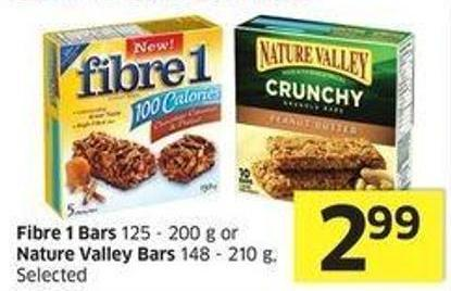 Fibre 1 Bars 125 - 200 g or Nature Valley Bars 148 - 210 g - Selected