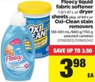 Fleecy Liquid Fabric Softener 1.3/1.47 L Or Dryer Sheets Pkg Of 80's Or Oxi-clean Stain Removers 183-651 Ml/680 G/750 G