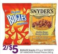 Bugles Snacks 213 g or Snyder's Of Hanover Pretzel Pieces 240 g