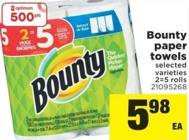 Bounty Paper Towels - 2=5 Rolls