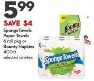 Spongetowels Paper Towels 6 Roll Pkg or Bounty Napkins  400ct