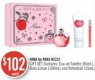 Nina By Nina Ricci Gift Set Contains: Eau de Toilette (80ml) - Body Lotion (100ml) and Rollerball (10ml)