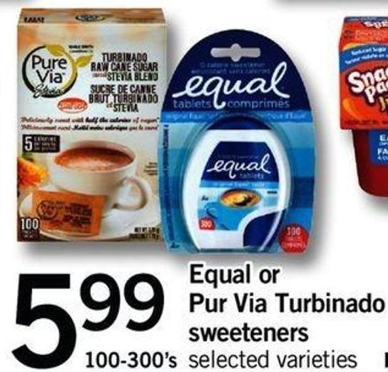 Equal Or Pur Via Turbinado Sweeteners - 100-300's
