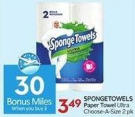 Spongetowels Paper Towel Ultra Choose-a-size 2 Pk - 30 Air Miles Bonus Miles