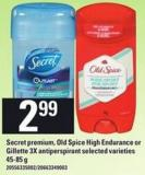 Secret Premium - Old Spice High Endurance Or Gillette 3x Antiperspirant - 45-85 G