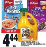 Simply Orange Juice 2.63 L Or Kellogg's Family Size Cereal 515 - 765 G